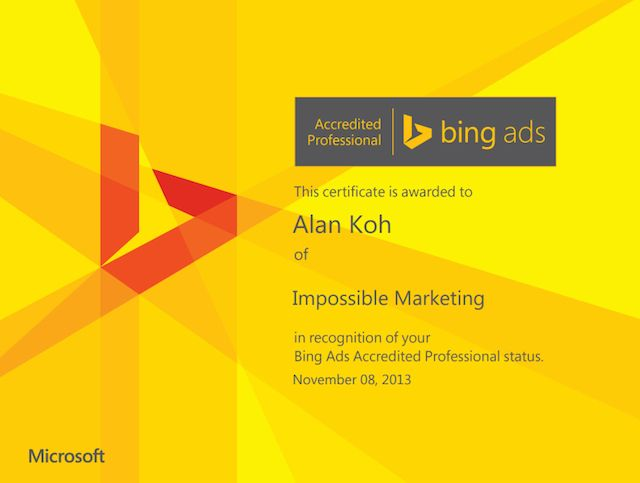 Yahoo/Bing Certification