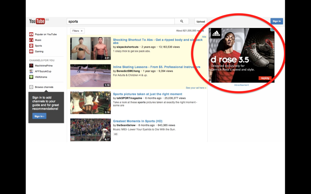"Adidas advertisement showing when youtube user search for ""sports"""