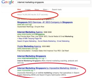 Impossible Marketing ranked number 2 out of 74 million searches on Google