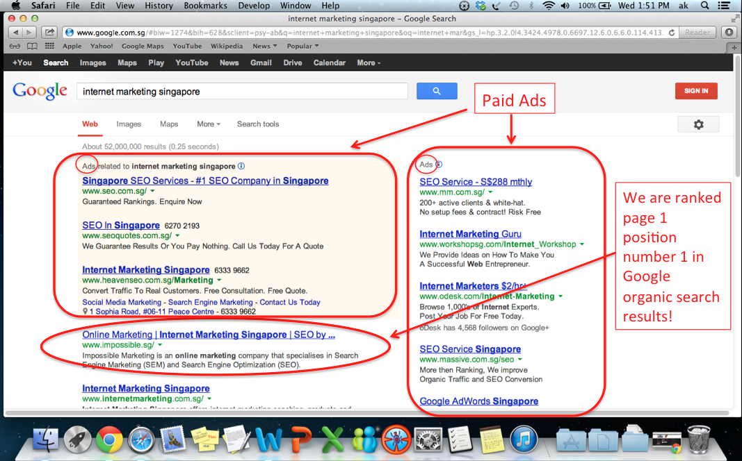 "Page 1 position number 1 for keyword ""Internet Marketing Singapore"""