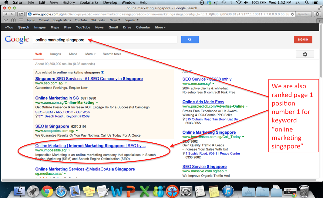 "Ranked page 1 position number 1 on keyword ""online marketing singapore"""