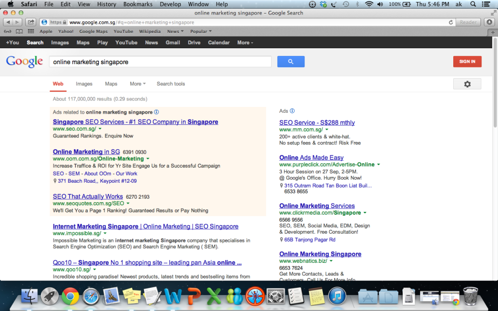 "Google ""Online Marketing Singapore"" and we are also ranked page 1 number 1"
