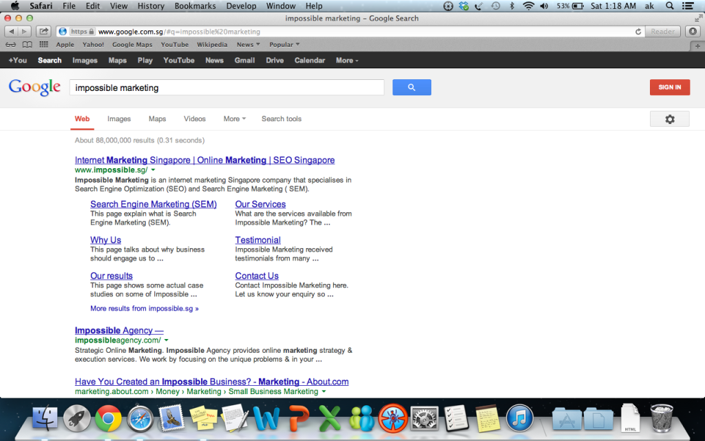 "Google ""Impossible Marketing"" and we are ranked page 1 number 1"