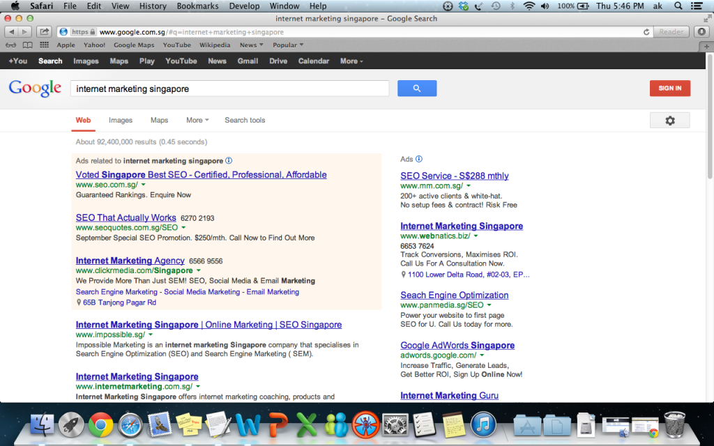 "Google ""Internet Marketing Singapore"" and we are also ranked page 1 number 1"