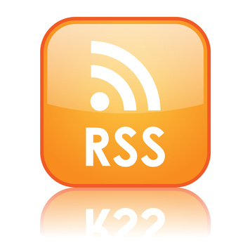 Look out for the the orange square with white radio waves to find RSS feeds.