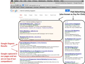 #1 and #2 Google Organic Ranking for Internet Marketing Singapore