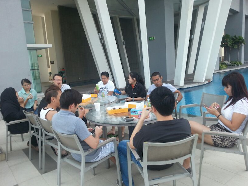Having a short break at our office pool after the intensive SEO training.