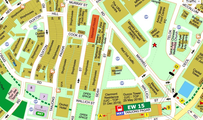 The actual location - Just 2 mins walk from Tanjong Pagar MRT Exit A. (Credits: Streetdirectory.com)