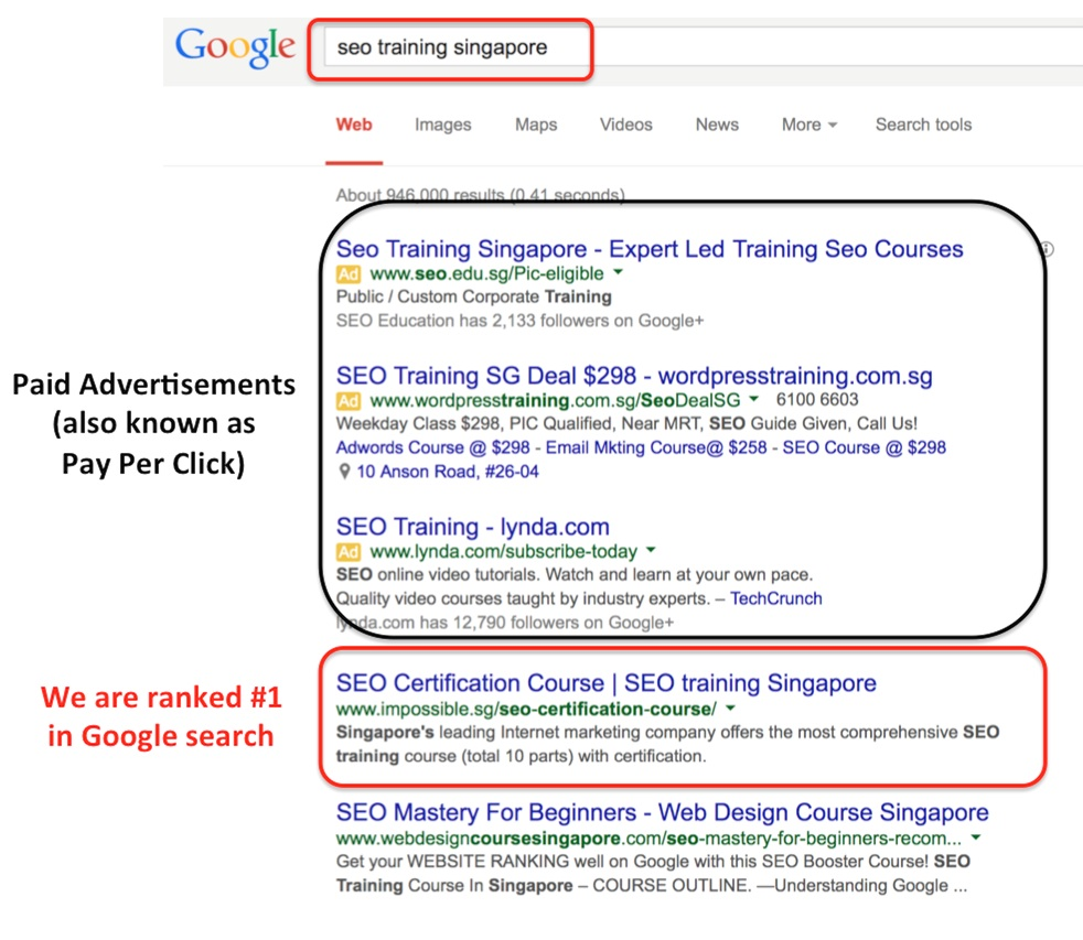 "We are ranked #1 in Google search for ""SEO Training Singapore"""